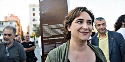 Ada Colau de manifestación en Barcelona.