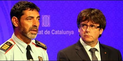 Trapero, mayor de los Mossos, y Puigdemont, presidente catalán.