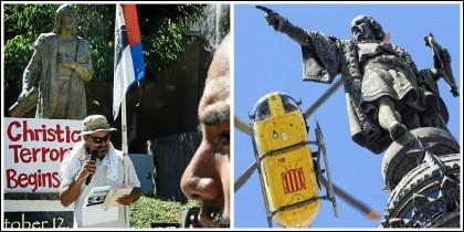 La estatua de Colón en Los Angeles y en Barcelona.