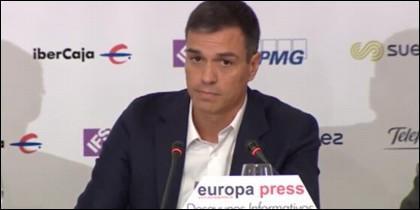 Pedro Sánchez en los Desayunos de Europa Press.