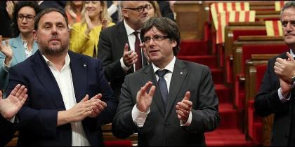 El Parlamento de Cataluña, aprobó hoy una ley para amparar el referéndum secesionista previsto para el próximo 1 de octubre