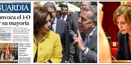 Portada de La Vanguardia 7-09-2017 y el conde de Godó con Soraya Sáenz de Santamaría.
