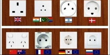 Diferentes tipos de enchufe electrico, en distintos países.