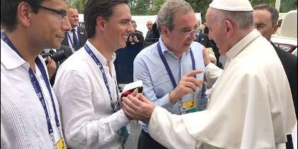 Francisco con César Alierta, Alfonso Gómez Palacio y Enrique Chaux