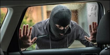 Ladrón, robo, coche.