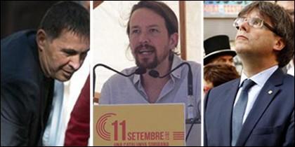 Otegi, Pablo Iglesias y Puigdemont.