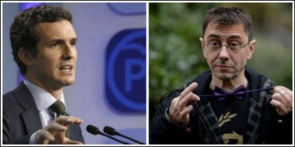 Pablo Casado y Juan Carlos Monedero.