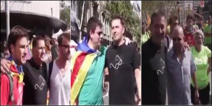 Los independentistas se fotografíaron con Otegi.