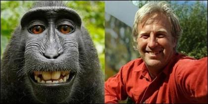 El selfie del macaco Naruto y el fotógrafo David Slater.