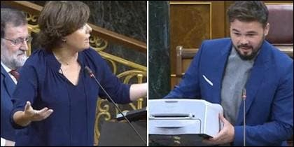 Soraya Sáenz de Santamaría y Gabriel Rufián en el Congreso.