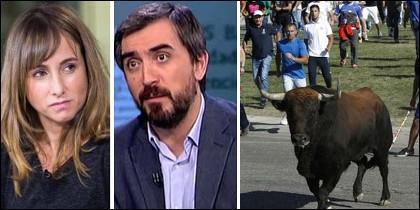 Ana Pardo de Vera (Público), Ignacio Escolar (eldiario) y el toro de la Vega.