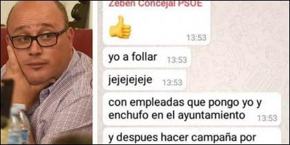 Zebenzuí González y una captura de los polémicos mensajes.
