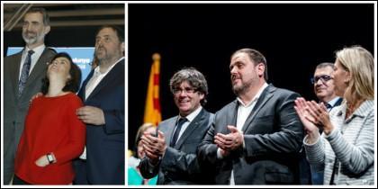 Junqueras 'mimando' a Soraya y a la derecha en el acto de arranque de campaña del referéndum ilegal.