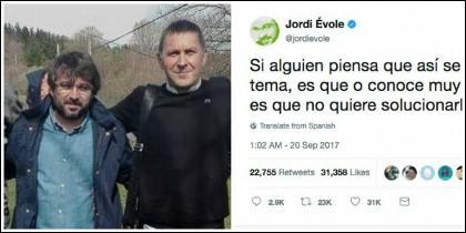 Jordi Évole con su amigo Arnaldo Otegi.