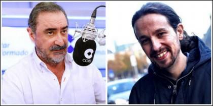 Carlos Herrera y Pablo Iglesias.
