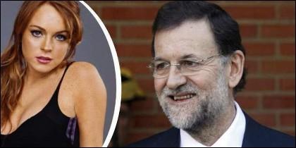 Lindsay Lohan y Mariano Rajoy.