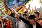 Manifestantes separatistas en Cataluña.