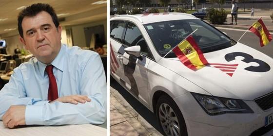 Arsenio Escolar y el coche de TV3 'agredido' en Zaragoza.