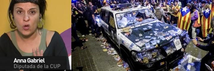 Anna Gabriel y un coche destrozado de la Guardia Civil.