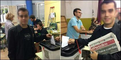 Un joven votando dos veces en el referéndum ilegal del 1-O.