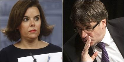 Soraya Sáezn de Santamaría y Carles Puigdemont.