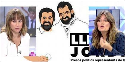 Ana Pardo de Vera y Pilar Gómez con 'Los Jordis'.