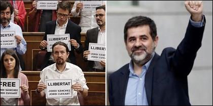 Los podemitas pidiendo la libertad para los Jordis en el Congreso y Jordi Sánchez.
