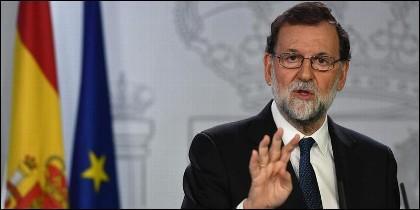 El presidente del Gobierno, Mariano Rajoy, en la sala de prensa de la Moncloa.