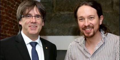 Carles Puigdemont y Pablo Iglesias.