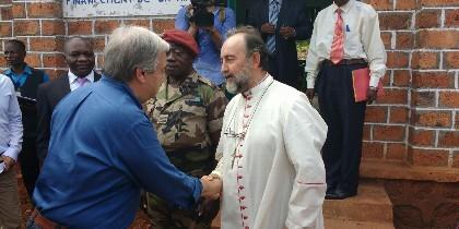 El obispo de Bangassou, con Guterres