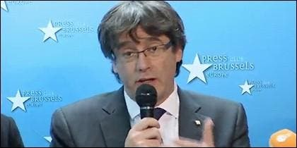 Carles Puigdemont en rueda de prensa desde Bruselas.