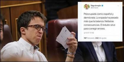 Iñigo Errejón (PODEMOS) y su tuit.