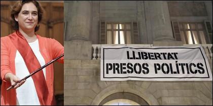 Ada Colau y la pancarta del Ayuntamiento de Barcelona.