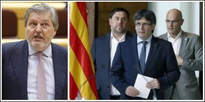 Méndez de Vigo y, a la derecha, el núcleo duro del golpismo, Junqueras, Puigdemont y Romeva.