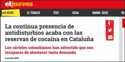 La 'noticia' de 'El Jueves', acusando a los policías nacionales de drogadictos.