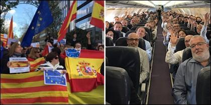 El recibimiento de banderas españolas y europeas a los alcaldes golpistas.