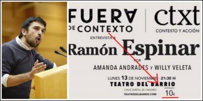 Ramón Espinar y el cartel de su entrevista.