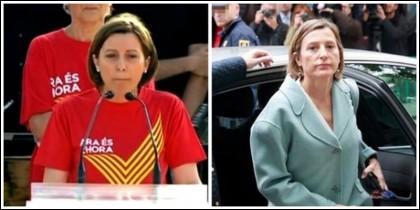 Carmen Forcadell en un acto independentista y el 9-11-2017 compungida a su llegada al Supremo.