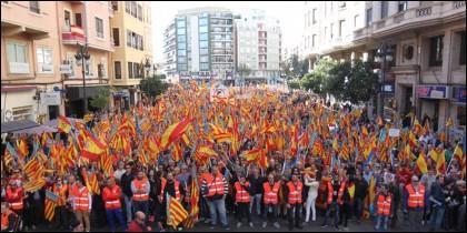 Manifestación contra los països catalans en Valencia.