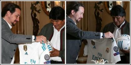 Pablo Iglesias y Evo Morales, haciendo el merengue.