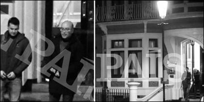 Oriol Soler y Andreu Grinyó abandonando la embajada de Ecuador en Londres (El País)