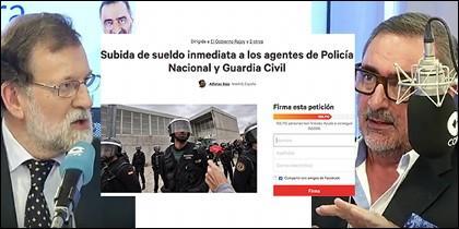 Mariano Rajoy y Carlos Herrera con la petición en change.org.