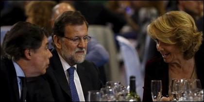 Ignacio González, Mariano Rajoy y Esperanza Aguirre (PP).