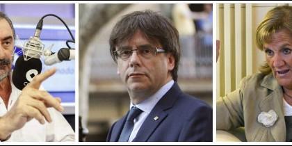 Carlos Herrera, Carles Puigdemont y Nuria de Gispert.