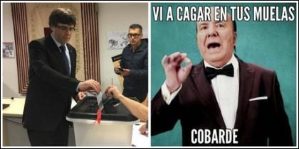 Carles Puigdemont, después de votar, ahora se acobarda.