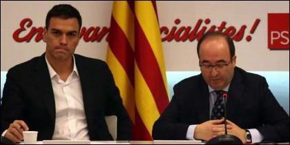 Pedro Sánchez (PSOE) y Miguel Iceta (PSC).