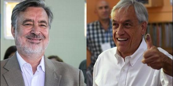Sebastián Piñera y el oficialista Alejandro Guillier