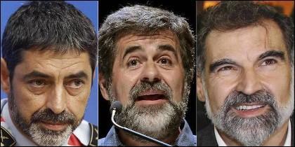 Josep Lluis Trapero, Jordi Sánchez y Jordi Cuixart.