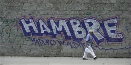 Una pintada contra el tirano Maduro en una calle de Venezuela.