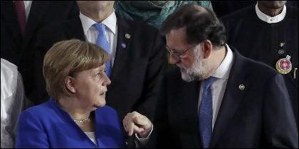 Angela Merkel con Mariano Rajoy.